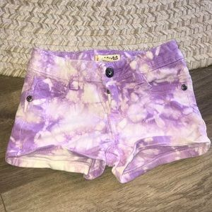 Purple tie dye shorts